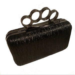Handbags - Black Embellished Knuckle Clutch